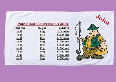 personalised pole float shotting conversion chart towel fathers day birthday