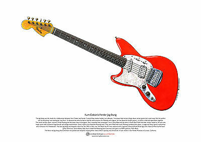 Kurt Cobain's Fender Jag-Stang ART POSTER A3 size segunda mano  Embacar hacia Spain