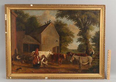 Antique 1848 JAMES WILLIAM GLASS American Farm Animals Folk Art Oil Painting