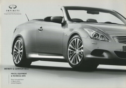 CAR PRICES, EQUIPMENT & TECHNICAL DATA BROCHURE: INFINITI G CONVERTIBLE - 2011