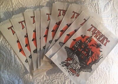 VINTAGE HALLOWEEN 🎃 TRICK or TREAT CANDY BAGS HAUNTED HOUSE BUNDLE OF 10