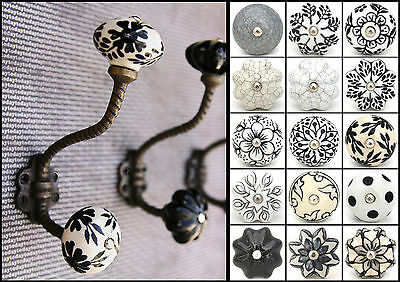 Vintage iron hooks coat hooks with ceramic knobs