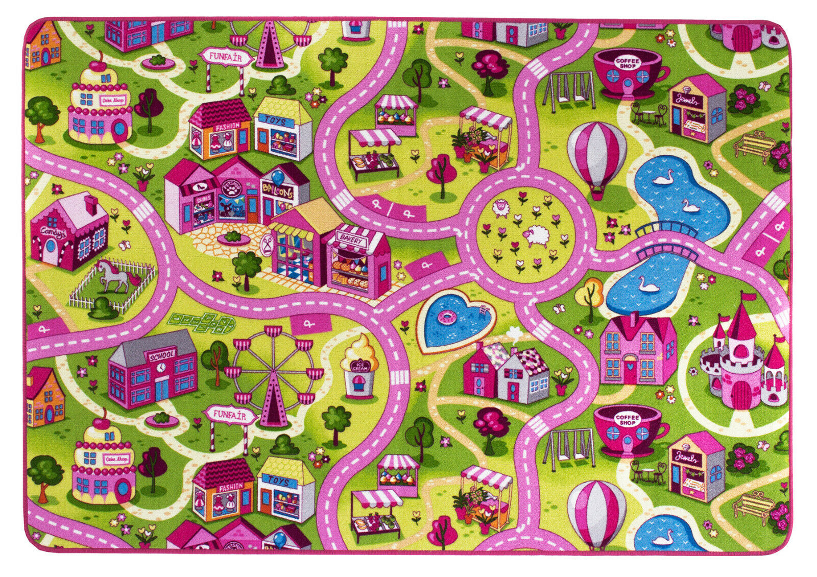 kinderteppich stra enteppich m dchen spielteppich auto pink sweet town vers gr eur 14 99. Black Bedroom Furniture Sets. Home Design Ideas