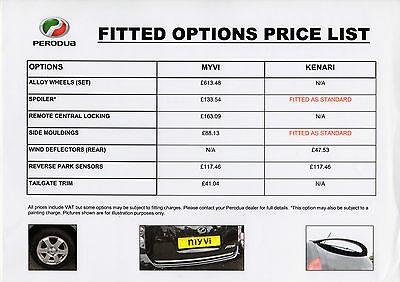 Perodua Accessories 2010 UK Market Leaflet Price List Brochure Myvi Kenari