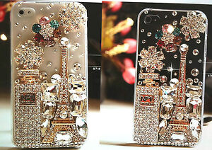 Bling Swarovski Element 3D Crystal Paris Effiel Tower Perfume iPhone 5/5s Case