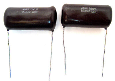 Vintage Cornell Dubilier Mylarpolyester Capacitors.082uf1600v 2lot