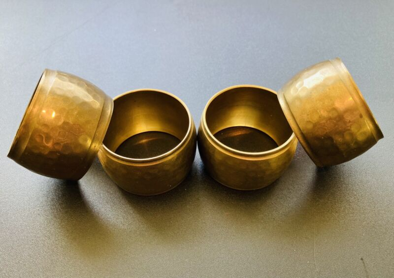 Set of 4 Round Hammered Gold Brass Napkin Rings Made In India