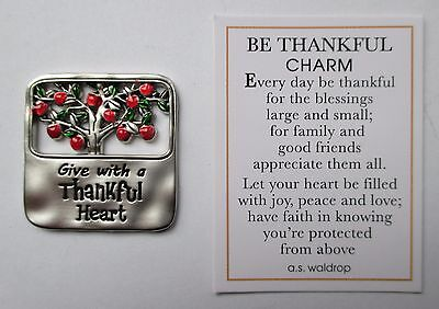 J Give with thankful heart BE THANKFUL pocket charm token Apple gratitude Ganz