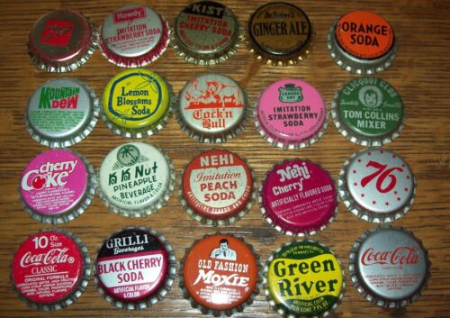 Lot of 20 different Vintage Unused Soda Pop Bottle Caps M Ko Ko Nut Green River