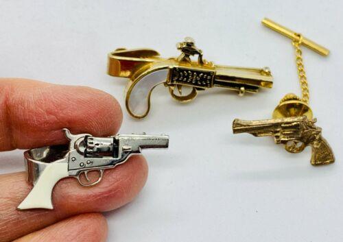 Lot of 3 Vintage Mens Tie Bars & Tacks - Hand Gun - Pistol - Six Shooter