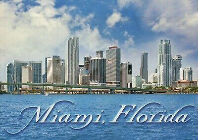 Miami Florida, Downtown Skyline, Bridge, Causeway, Blue Waterway, FL -- Postcard