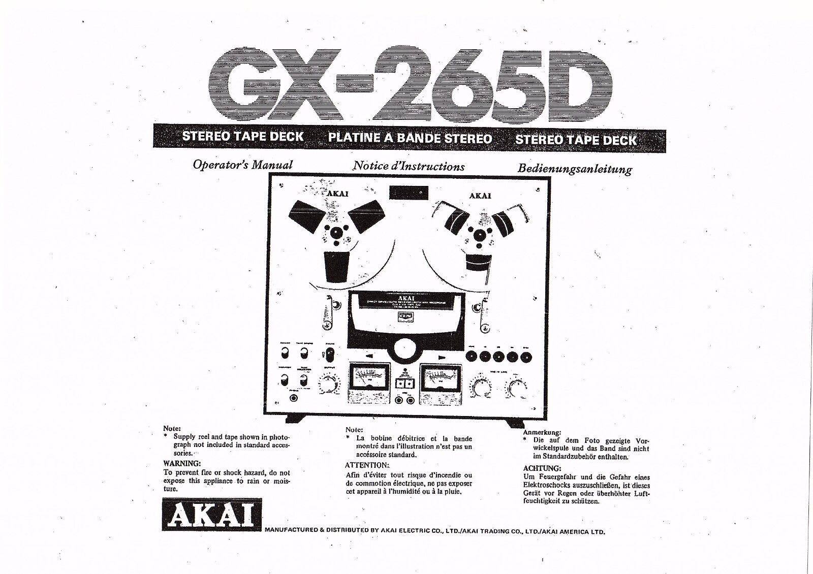 AkaiユーザーマニュアルGX-265 D多言語コピーのユーザーマニュアル所有者のeBay公認海外通販|セカイモン