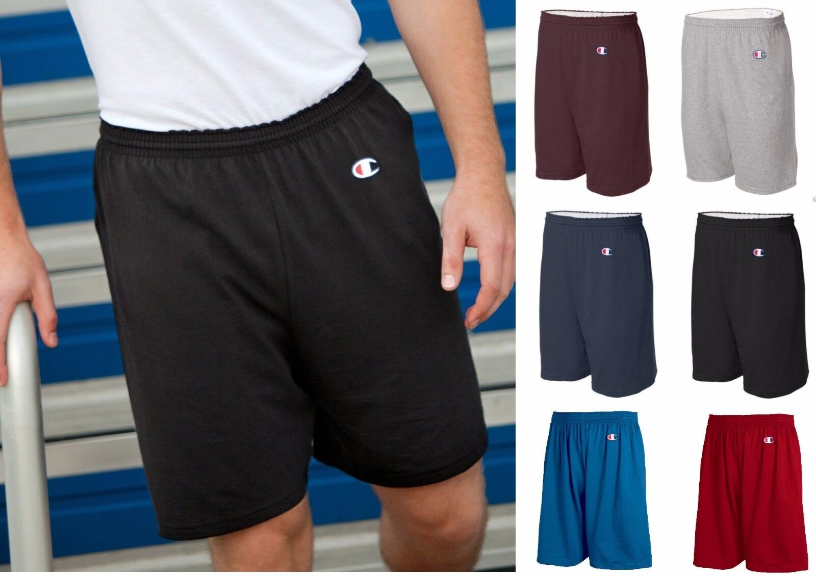 8187 Champion Active Wear Men's Cotton Gym Shorts Athletic 6