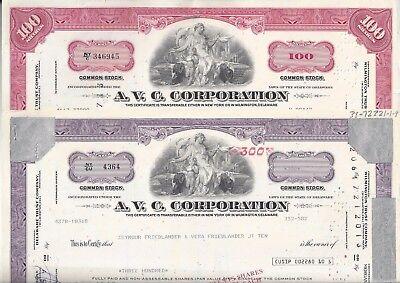 2 Aktie AVC Corporation (ehem. American Viscose Company), Delaware, 1979 u. 1980