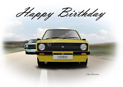 Ford Escort Mk2 RS2000 Mexico RS1800 Birthday Greetings Card    2000 Greetings Cards