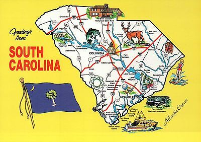 Greetings from South Carolina, Charleston Columbia etc Flag - State Map Postcard