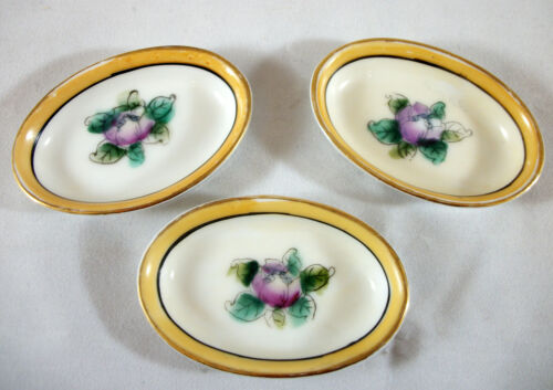 Set of 3 Noritake Butter Pats - Purple Peony with Yellow Band, Handpainted Japan