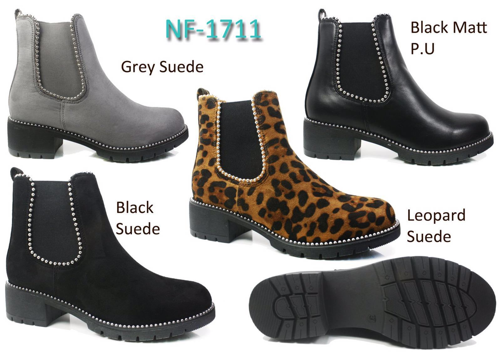 Ladies Chunky Block Heel Woman's Shoes Studded Platform Chelsea Ankle Boots Size