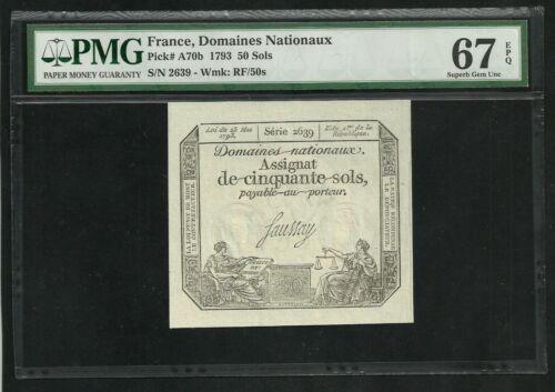 France : 50 Sols 1793 ; PMG : Superb Gem UNC 67 ; EPQ