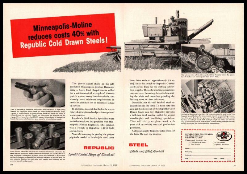 1955 Minneapolis-Moline Harvestor Republic Steel Cleveland Ohio 2-Page Print Ad