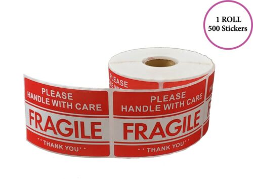 PLEASE HANDLE WITH CARE - FRAGILE - THANK YOU Stickers, 2X3, (500 Per Roll)