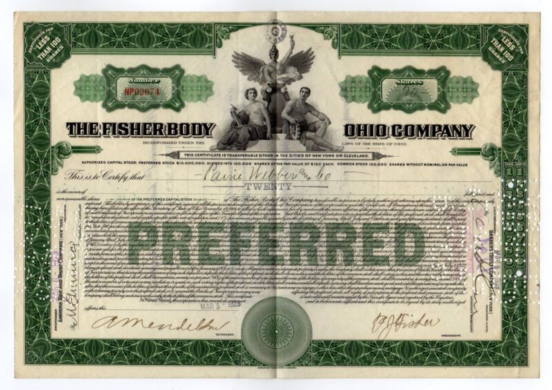 Frederic John Fisher - The Fisher Body Ohio Co. Stock Certificate