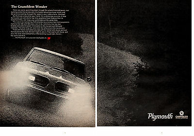 1968 PLYMOUTH BARRACUDA / OPTIONAL 343 OR 383  -  ORIGINAL 2-PAGE MUSCLE CAR AD