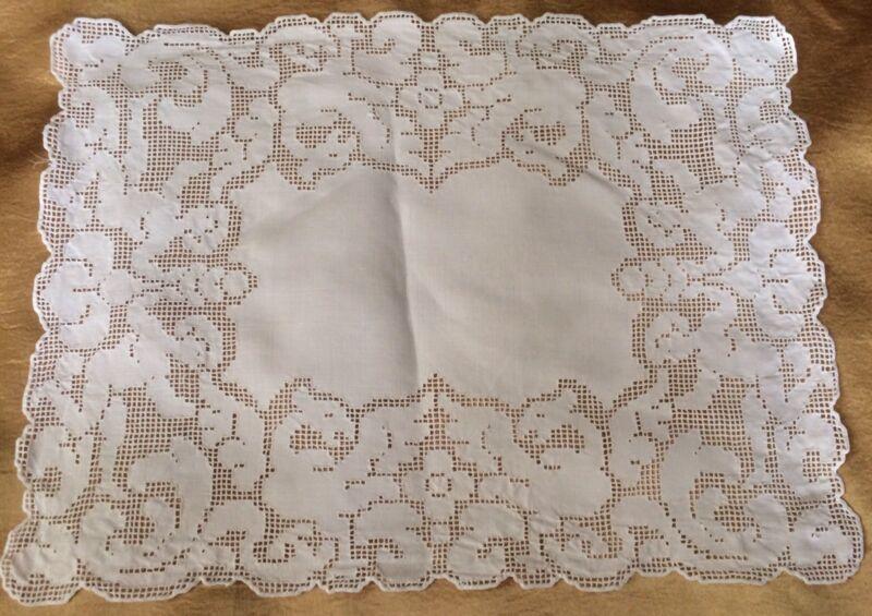 Antique Linen Lace Doily Figural Cherubs Griffins Mat Edwardian White Runner C1