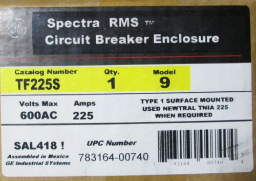 GE TF225S Circuit Breaker Enclosure 225 Amp 600V  *NIB*  UPC # 783164007404