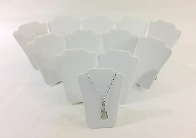 12pc White Leather Collapsible Necklace Easel Stand Jewelry Showcase Display 5h
