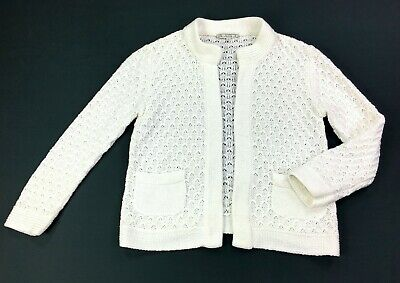 HOUSE OF DAGMAR Open Front Mercerised Cotton White Cardigan Sweater size M