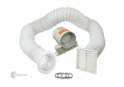 """4"""" Inline Extractor Fan with Timer - Full Kit - Ventilation for Bathroom Shower"""