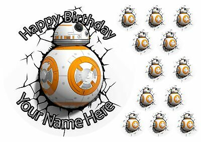 "BB8 Star Wars 7.5"" Cake Topper +12 Cupcake Topper Birthday Wafer, icing sheet.94"