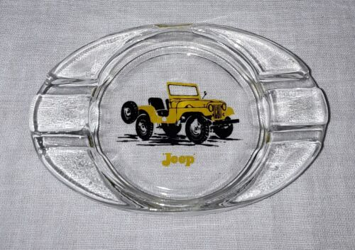 VINTAGE WILLYS JEEP GLASS TABLE BAR ASHTRAY