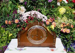 SMITHS ANTIQUE ART DECO WESTMINSTER CHIME MANTEL CLOCK 1955. STUNNING & RARE!
