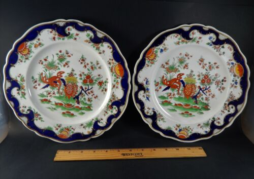 Rare Pair Chamberlains Worcester Porcelain Jabberwocky Pattern Plates Circa 1820