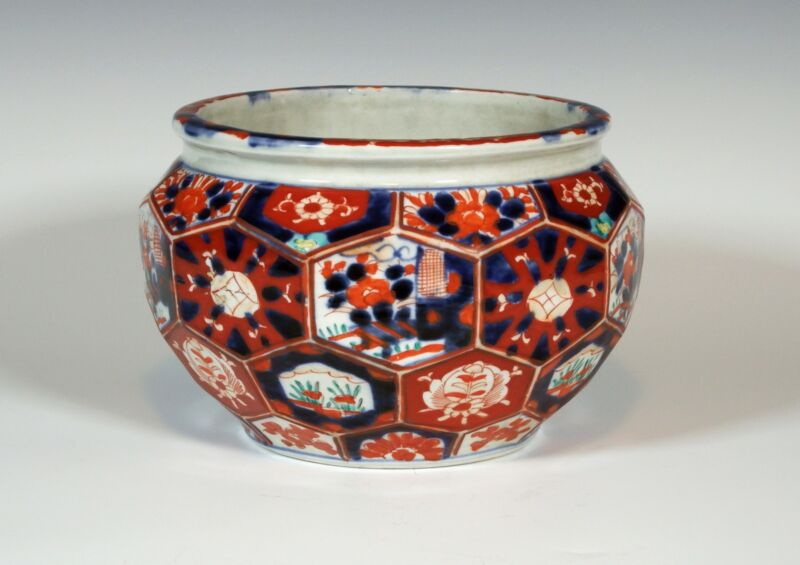 Antique Japanese Imari Porcelain Facetted Planter