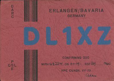 OLD VINTAGE DL1XZ ERLANGEN BAVARIA GERMANY AMATEUR RADIO QSL CARD