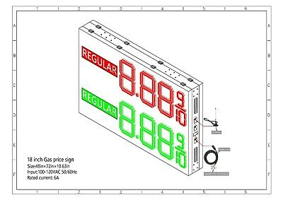 Led Gas Price Sign 48 X 72 Double Sided Cabinet With 18 Inch Digits