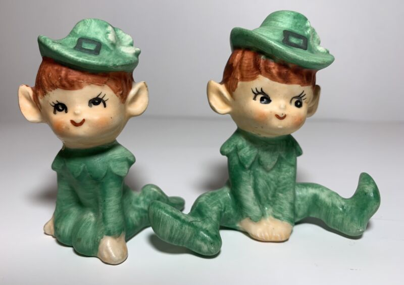 "2 Vtg Green Pixie Elves Bisque Figurines St.  Patricks Made In Japan 3"" •Read•"