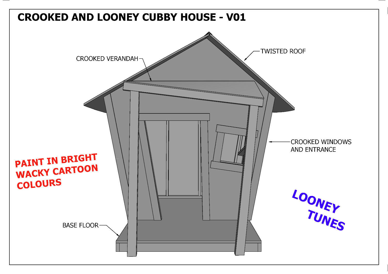 Crooked house plans crooked cubby house play house v05 for Crooked house plans
