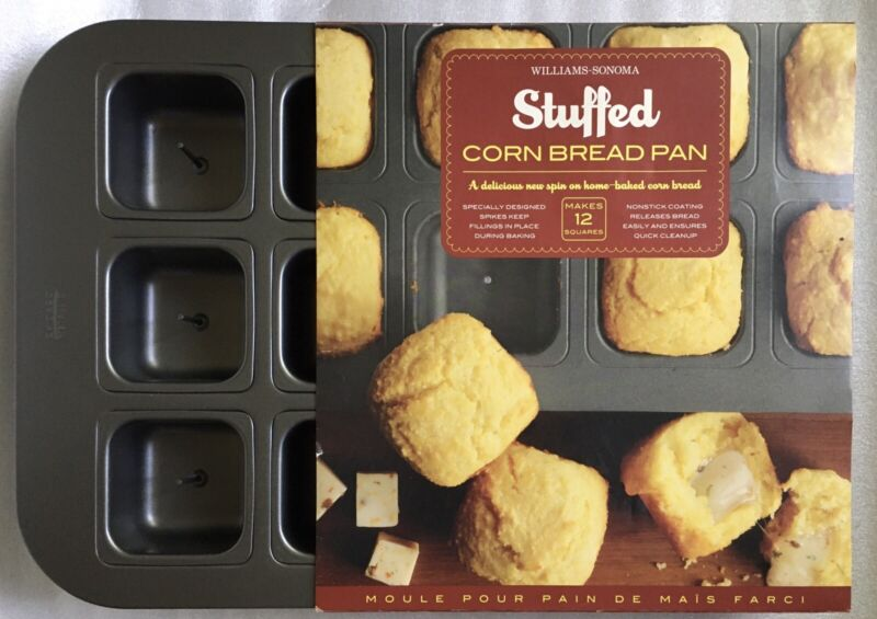 Chicago Metallic Stuffed Cornbread Pan Williams-Sonoma 12 Spiked Squares NEW