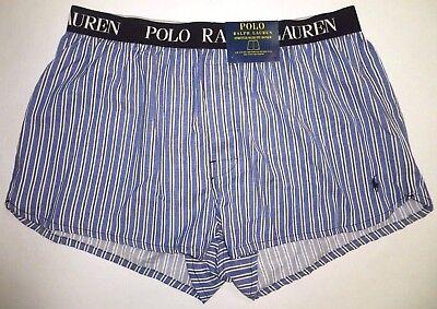NWT POLO RALPH LAUREN Mens SLIM FIT Woven BOXER Underwear Shorts Striped Blue XL