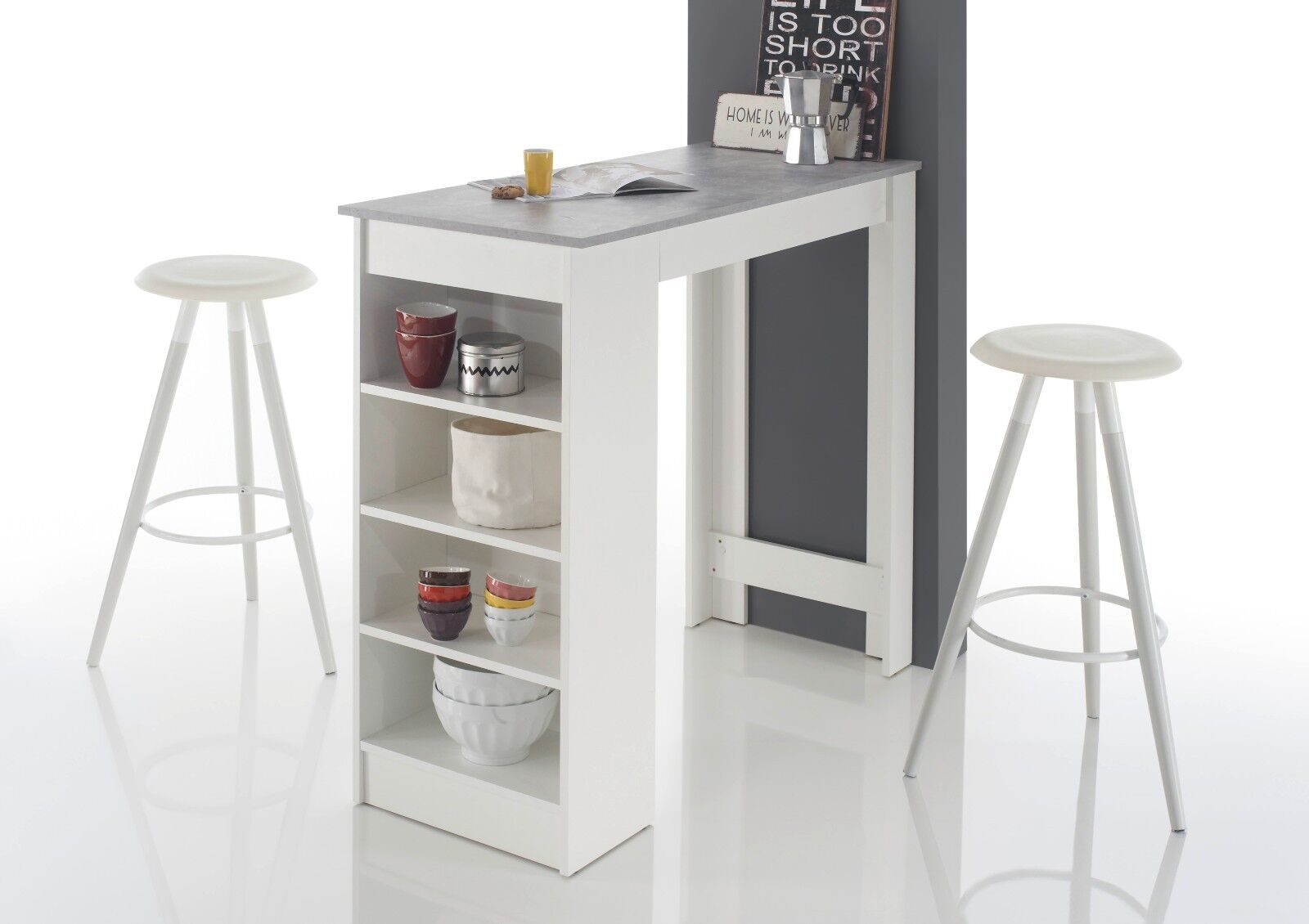 Bartisch Mojito, Stehtisch, Bistrotisch, Tisch, Weiß/Beton, mit Regal, 115x50 cm