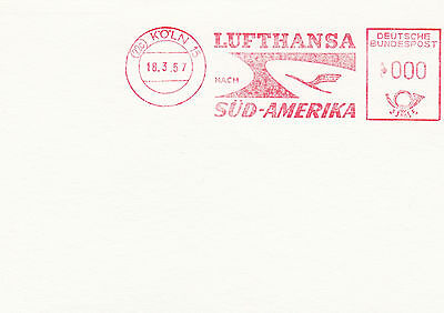 (91505) Germany Cover Lufthansa South America Metre Mail - Cologne 18 March 1957 on Lookza