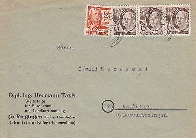 C 766 Berladingen November 1948 Wurttemberg stamped cover; 20pf rate