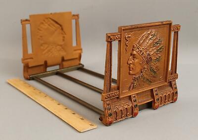 Antique JUDD American Indian Bookends Bookrack Adjustable Cast Iron Book Rack