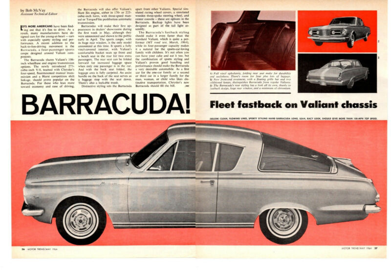 1964 PLYMOUTH BARRACUDA  ~  GREAT ORIGINAL 2-PAGE ARTICLE / AD