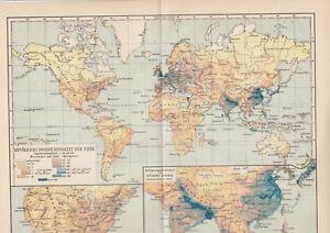 1899 Bewölkerung Dichtigkeit der Erde Alte Landkarte Karte Antique Map - Schleinbach, Österreich - Widerrufsrecht Sie haben das Recht, binnen 1 Monat Tagen ohne Angabe von Gründen diesen Vertrag zu widerrufen. Die Widerrufsfrist beträgt vierzehn Tage ab dem Tag an dem Sie oder ein von Ihnen benannter Dritter, der nicht der  - Schleinbach, Österreich