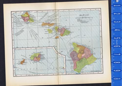 HAWAII - 1899 Antique COLOR MAP